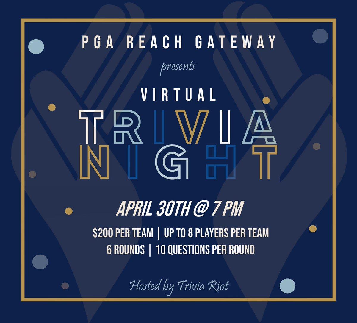 Sign up a team and join PGA REACH Gateway for the 2021 Virtual Trivia Night!   #trivianight #stl #gatewaypga #pgareachgateway