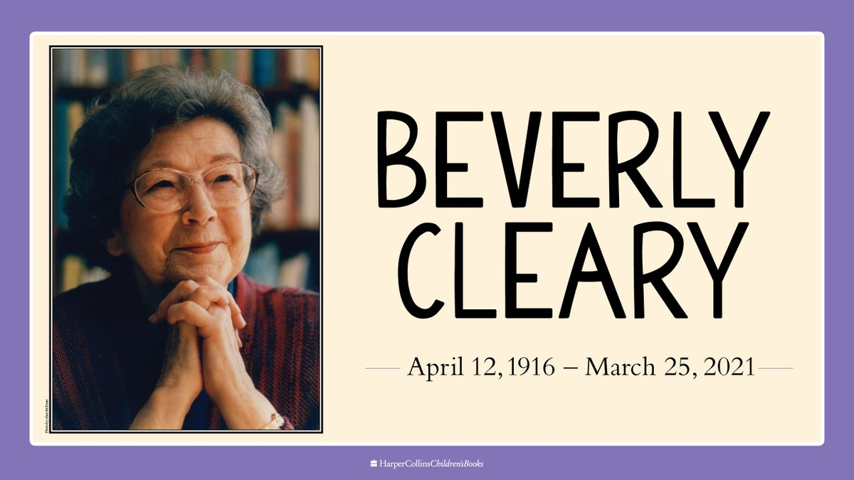 We are saddened to share that cherished children's book author Beverly Cleary passed away yesterday, March 25, at 104 years old. https://t.co/Ifqu3Hfuxg https://t.co/BXywlKTSac