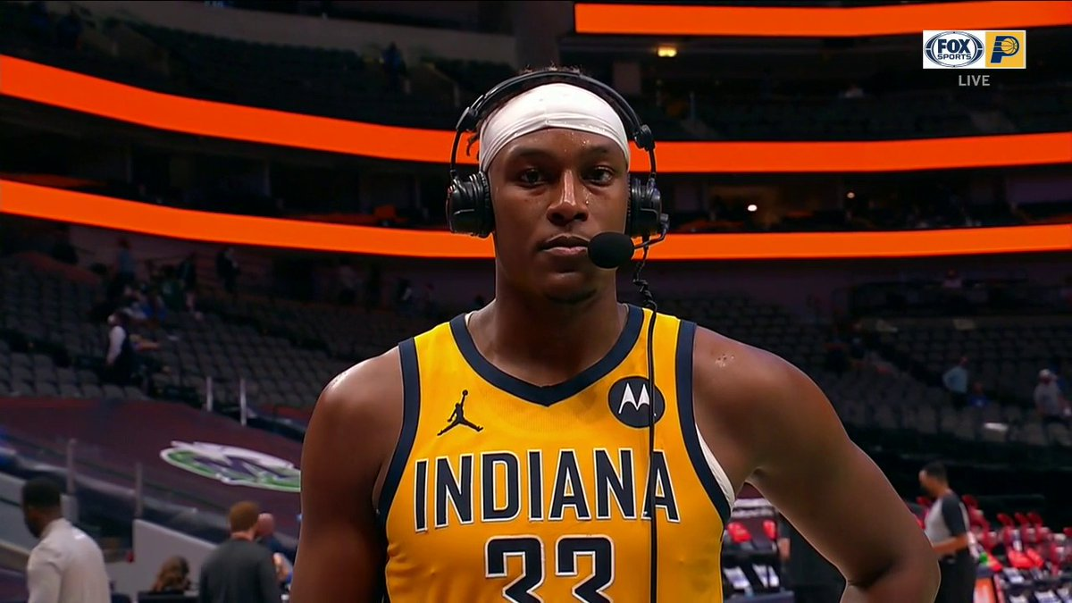 """Myles Turner after Pacers beat Mavs: """"I have the highest impact defensively in the league. When I'm out there, things change a lot. When I'm not, it's obvious. ... I don't have to score to impact the game. I know where I leave my mark."""" #AlwaysGame #Pacers https://t.co/YAwB8US4CW"""