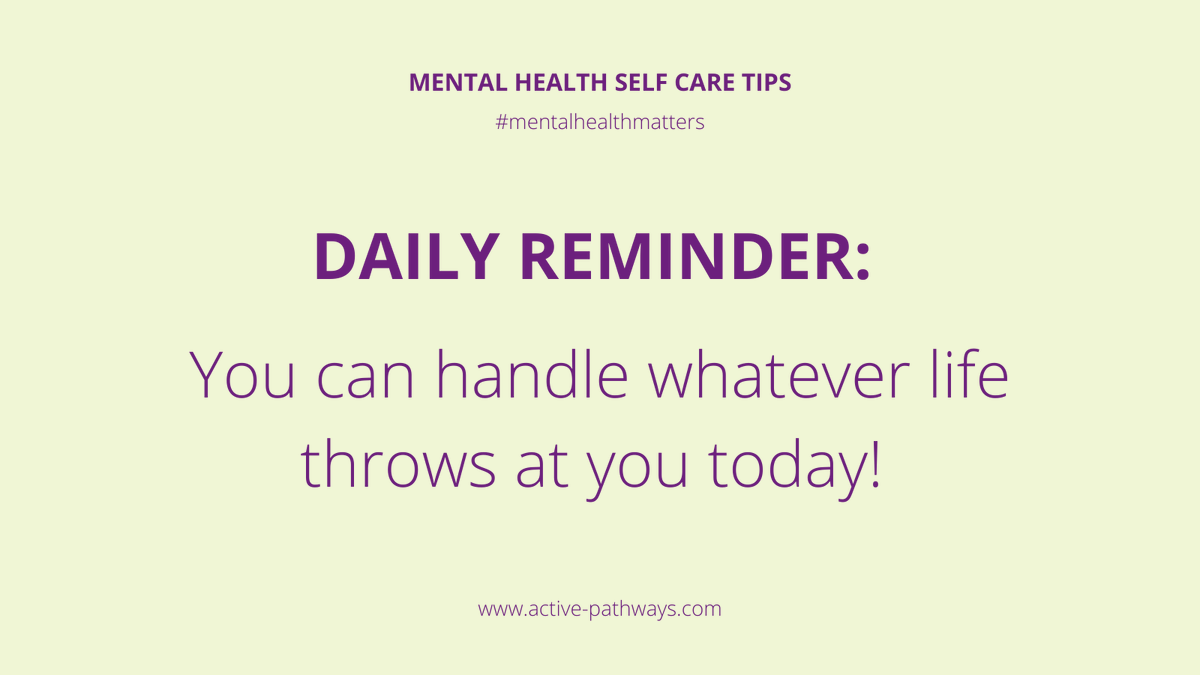 You can handle whatever life throws at you today 💪  #occupationaltherapy #rehabilitation #rehab #mentalhealth #mentalhealthmatters #mentalhealthadvocate #dailymotivation #mentalhealthrecovery #keyworkers #recovery