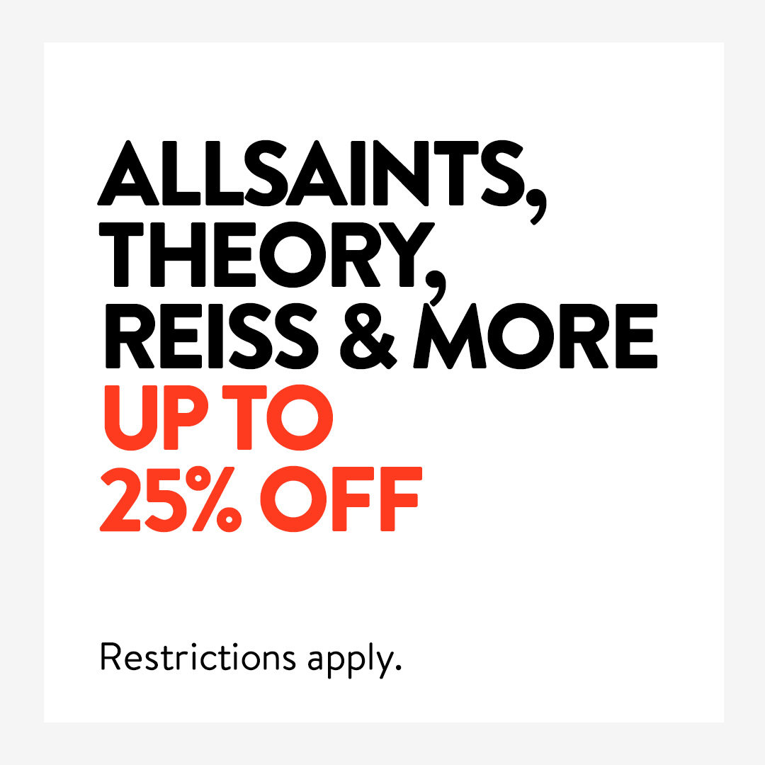 UP TO 25% OFF ALLSAINTS, THEORY, REISS & MORE. We're price matching selected styles from top brands for a limited time. Restrictions apply. Shop now: ​https://t.co/CmRJ1iCwwM https://t.co/iXvcPk7C5s