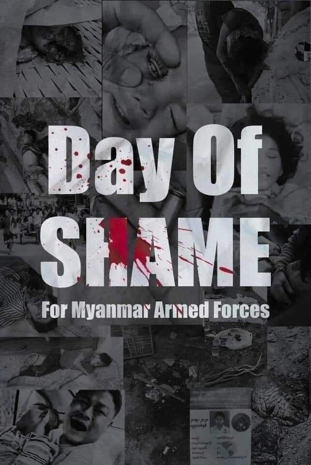This full moon night is a bloody full moon night.March-27 day of shame for Myanmar armed forces. The full moon is full of blood. #WhatsHappeningInMyanmar  #HearTheVoiceOfMyanmar  #CrimesAgainstHumanity  #TerroristsJunta  #March27Coup https://t.co/b7ccz7i3Kq