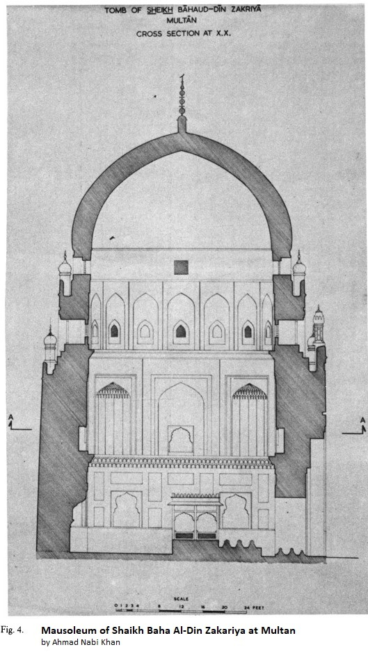 Architectural drawing Bahauddin's tomb