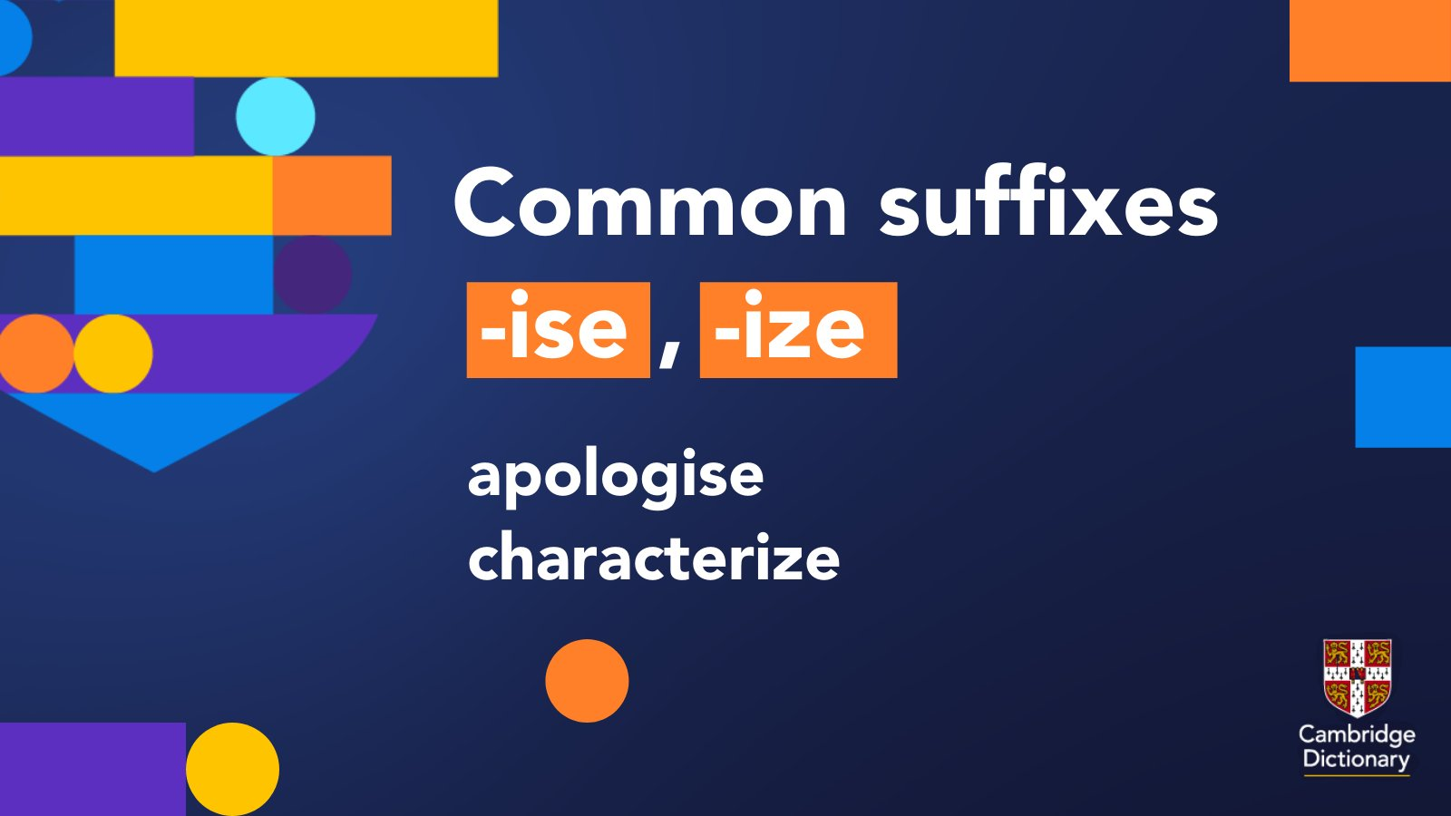 """Cambridge Dictionary auf Twitter """"The Suffix ' ize' is common to ..."""