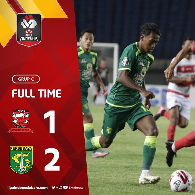 Skor akhir Madura United 1-2 Persebaya Surabaya