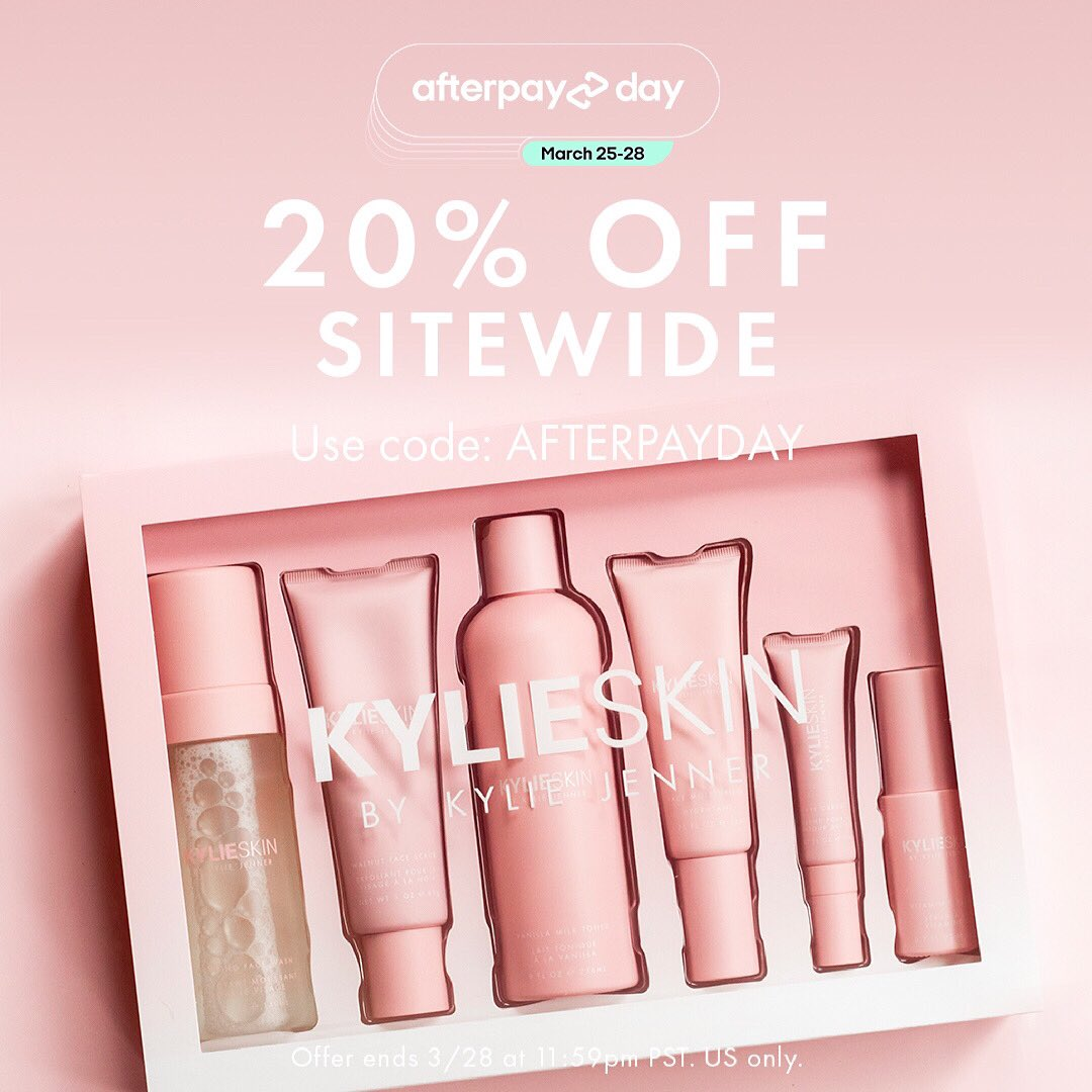 last day to stock up on your #kylieskin favs for 20% off sitewide with the code AFTERPAYDAY 🛍 ends tonight 3/28 11:59pm pst on https://t.co/fkwkhSDVix 💓 usa only. #afterpayday @AfterpayUSA https://t.co/ijrADMmrwi
