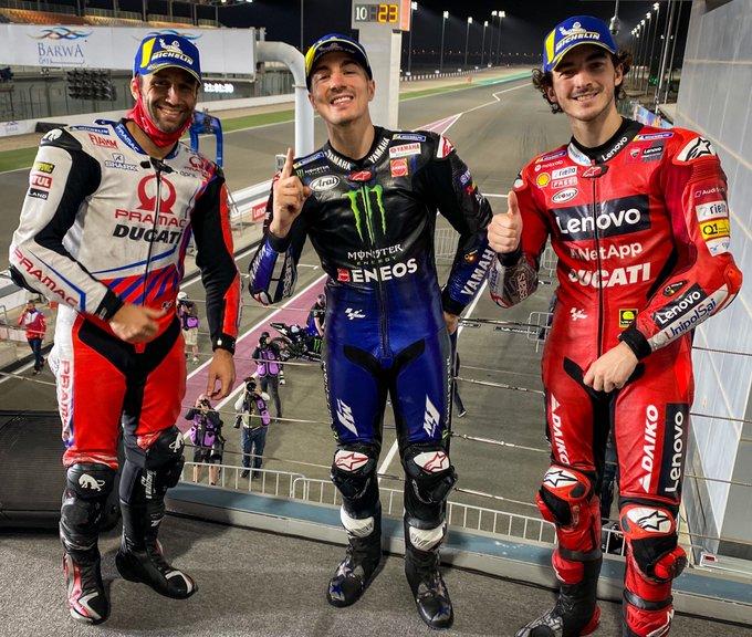 PODIUM MOTOGP QATAR 2021 - Maverick Vinales tampil sebagai juara 1 disusul Johan Zarco dan Francesco Bagnaia di podium 2 dan podium 3.