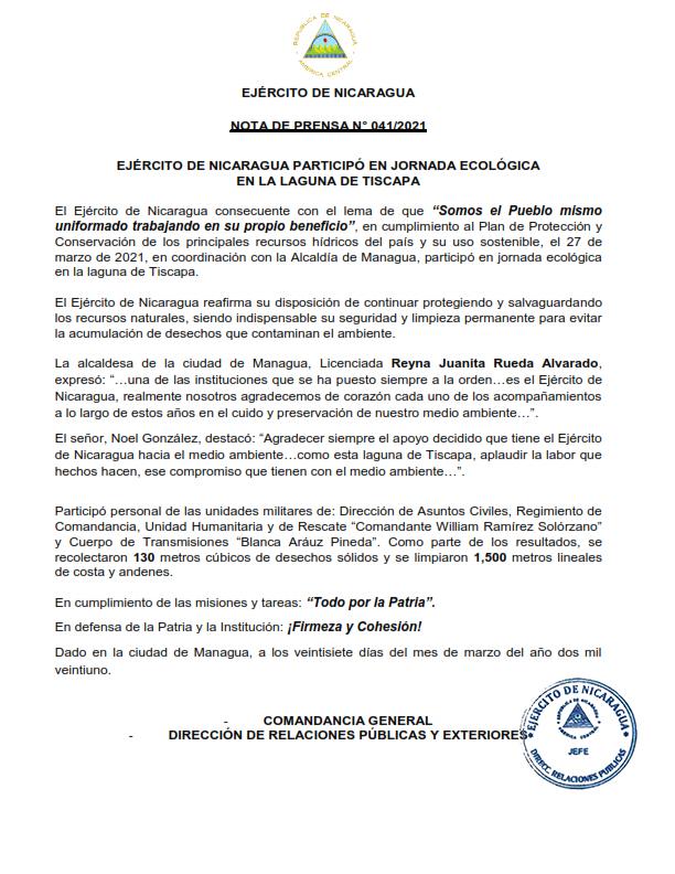 Documento Oficial del Ejercito de Nicaragua nota de prensa numero 0412021