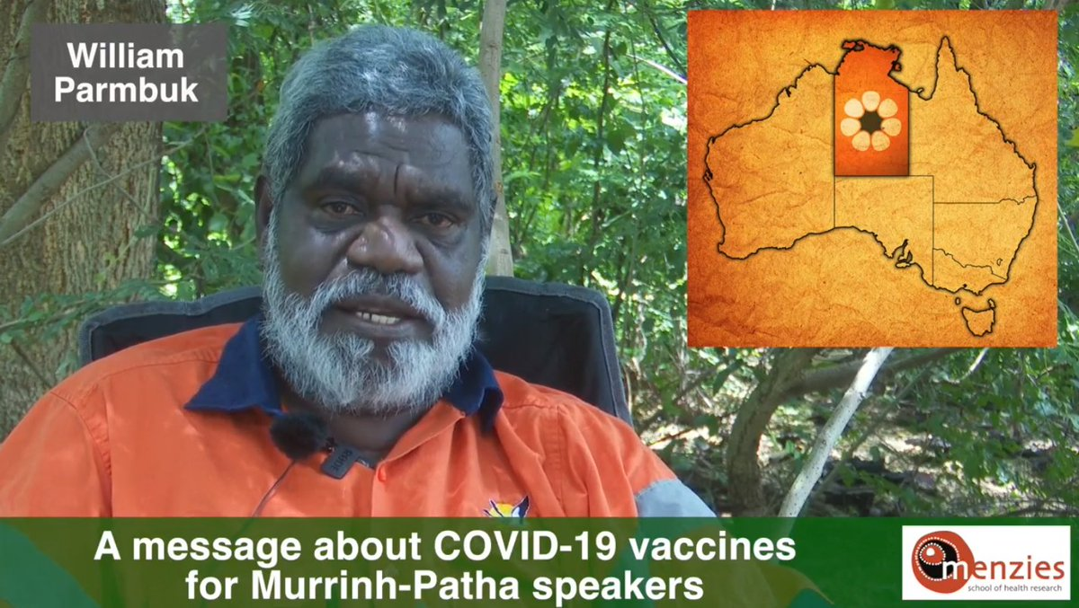 A great video made in Murrinhpatha by Menzies school of health and William Parmbuk about the Covid 19 vaccine.  Thank-You for sharing @MenziesResearch @VickiKerrigan