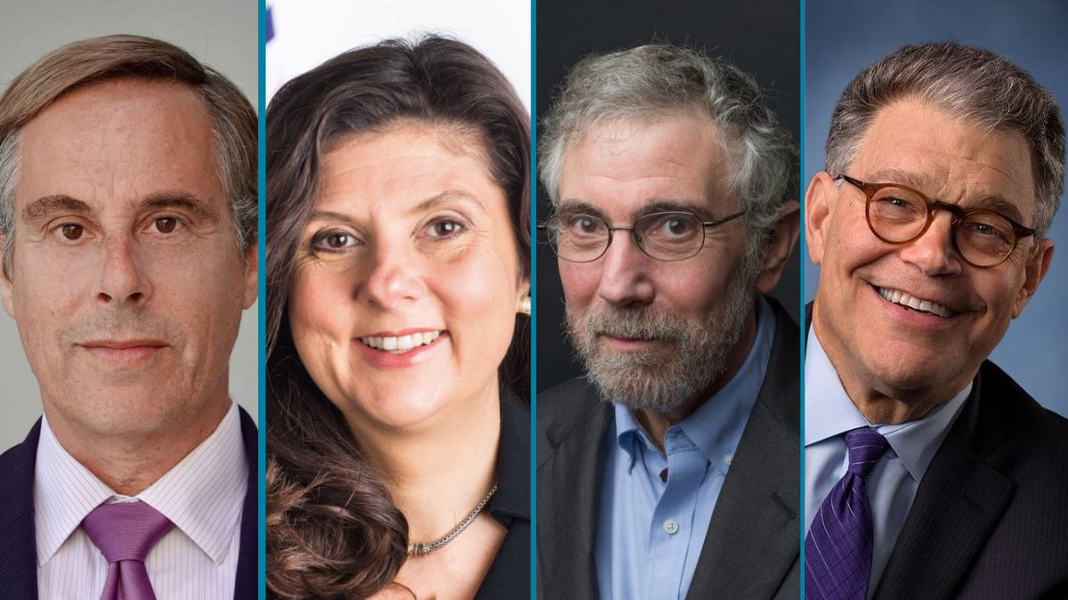 """Economics? Do not fear! In this ALL-NEW @talkingfedspod, @paulkrugman @alfranken &  @BetseyStevenson break it all down in lively dynamic discussion.  It's a must-listen to understand the historic period we seem to be entering.  Catch """"The New New Deal?"""" at"""