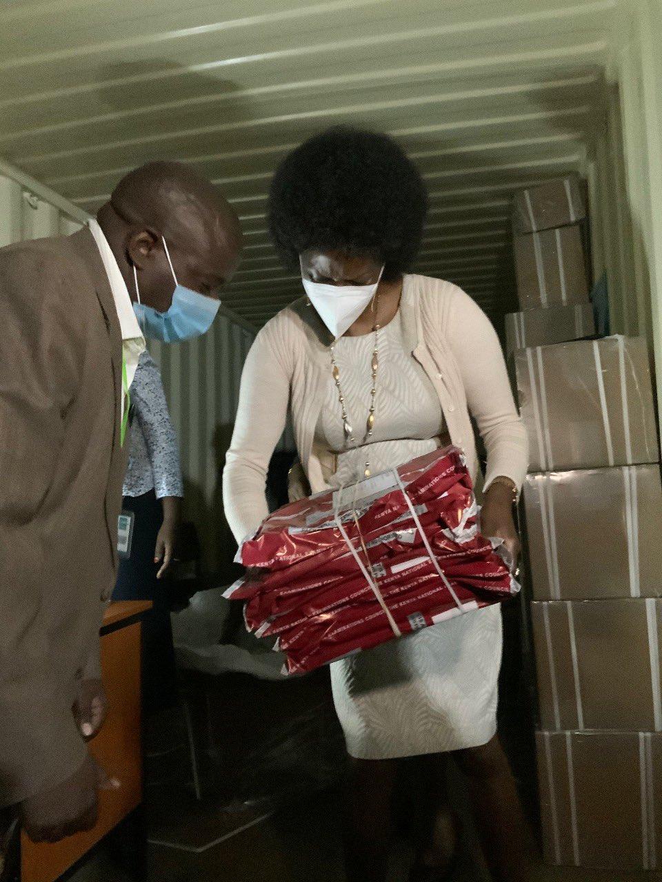 TSC CEO Dr Nancy Macharia issues KCSE materials on Day 2 (Monday 29th March) of the KCSE 2020 at Kamukunji, Nairobi.