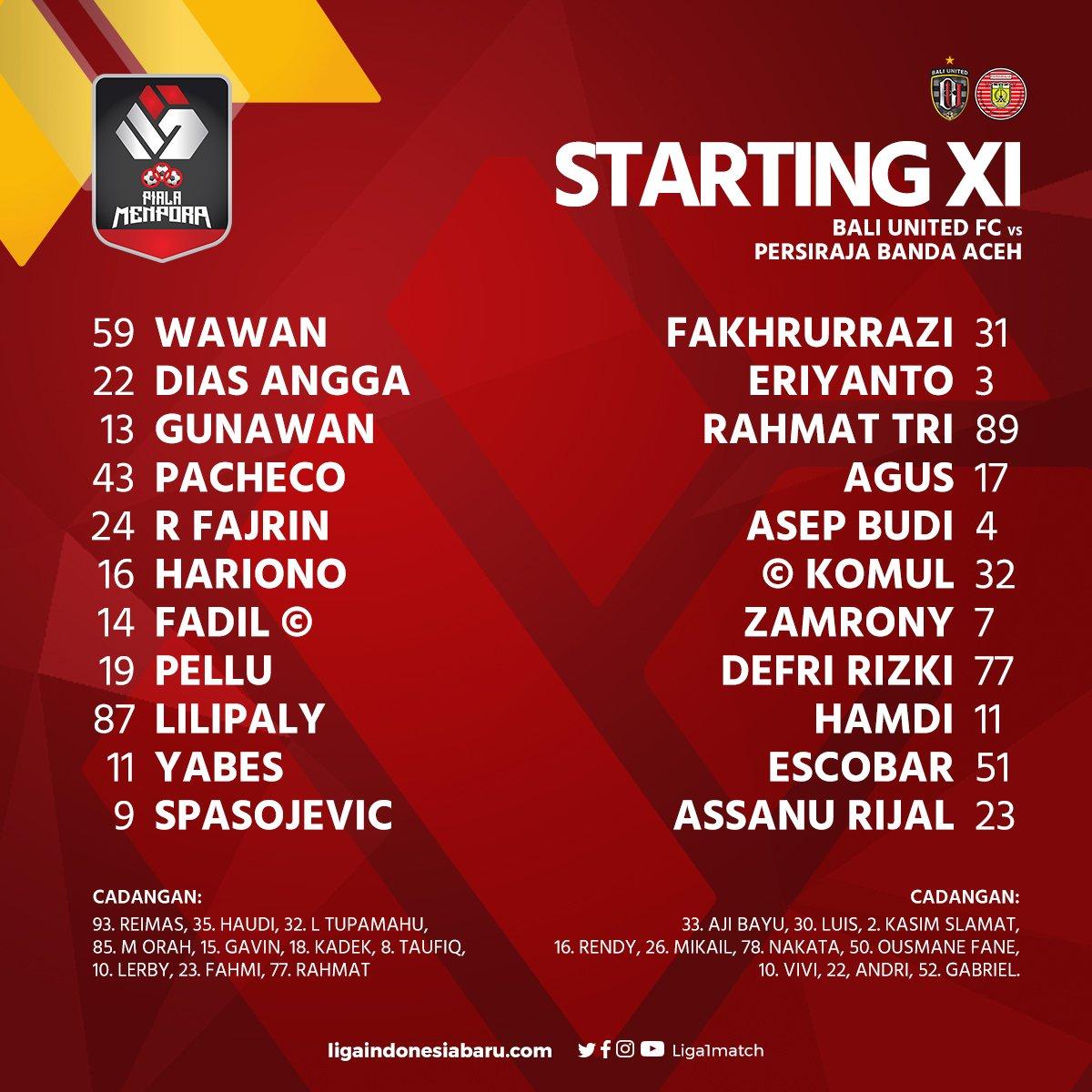 Liga 1 Indonesia On Twitter Daftar Susunan Pemain Piala Menpora 2021 Bali United Fc Vs Persiraja Banda Aceh Pialamenpora2021 Dukungdarirumah Https T Co Cpiymaq3xz