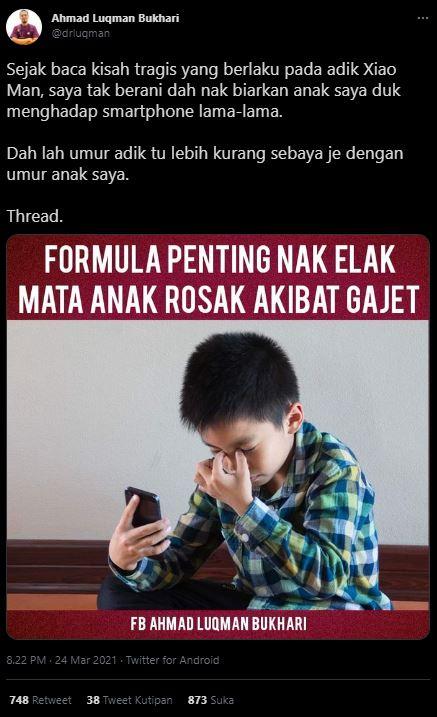 Kisah anak laki-laki bernama Xiao Man yang mengalami kerusakan mata akibat penggunaan gadget di usia dini.