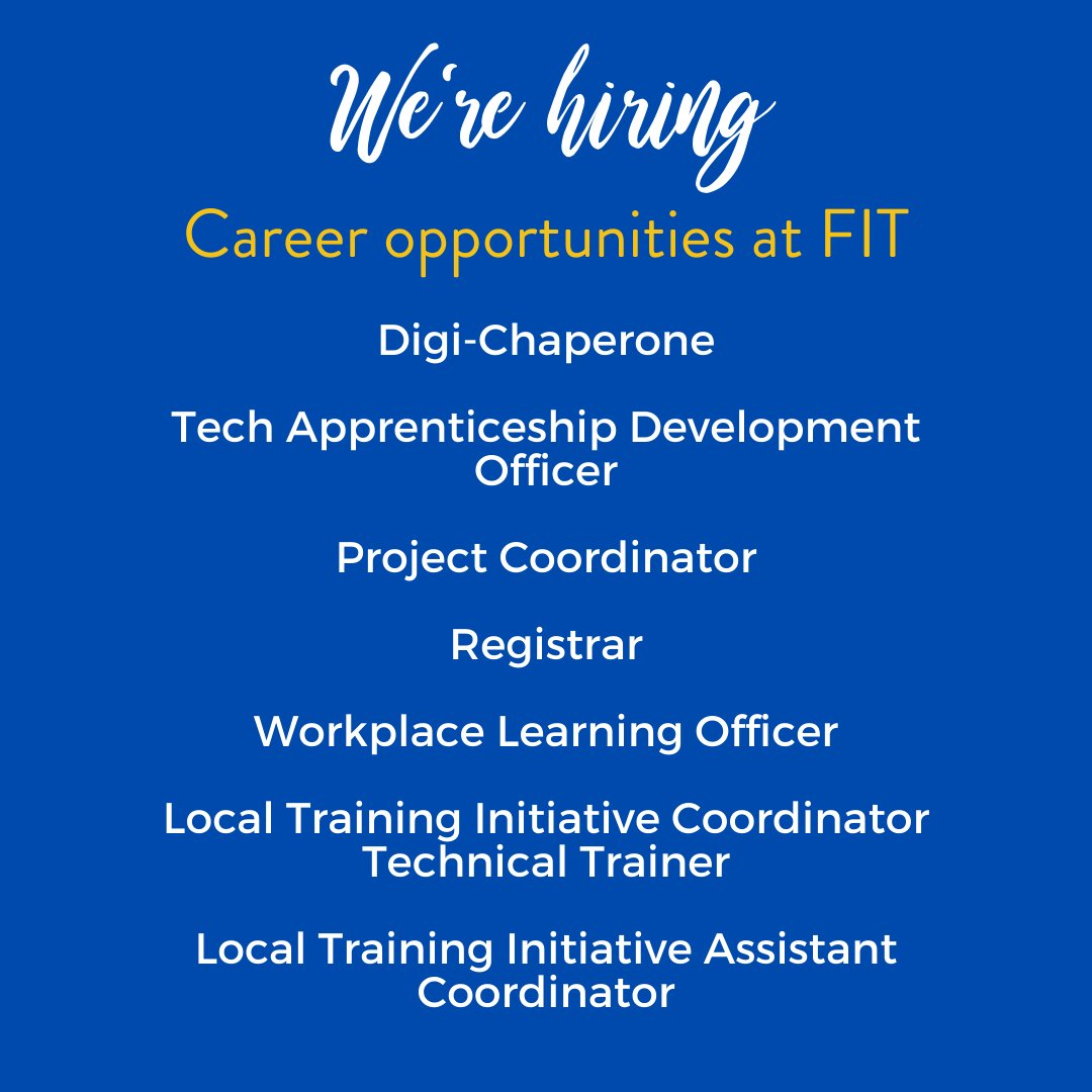 Are you looking for a rewarding career? At FIT we pride ourselves on continuous evolution and innovation in the interest of key client groups of tech enthusiasts and tech employers.  FIND OUT MORE ABOUT THE JOBS HERE: https://t.co/SOYobivOBc #careeropportunities #jobs #careers