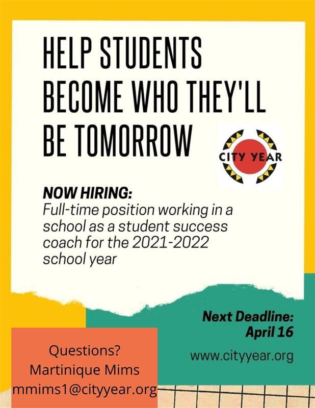 .@CityYearCLE is hiring people to serve as AmeriCorps Members for the 2021-2022 school year. Interested candidates can complete this application: https://t.co/xTFLnKoTol by April 16th. For more information contact Martinique Mims at mmims1@cityyear.org. https://t.co/HTswHIhrdW