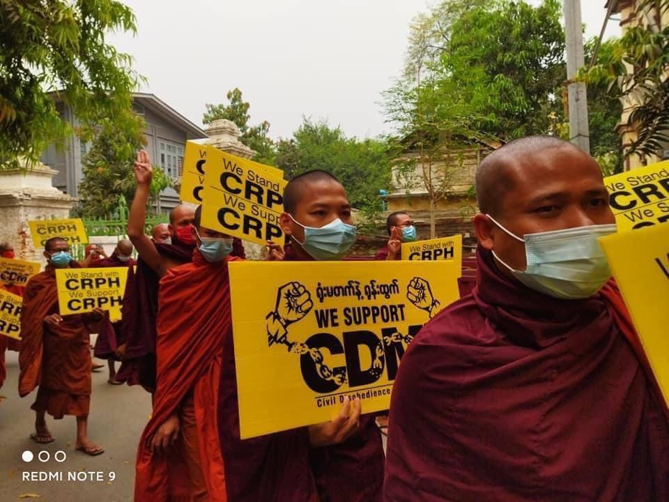 Mandalay's monks union strike marched on streets today. JUNTA MASSACRE #Mar29Coup #WhatsHappeningInMyanmar https://t.co/szvrgM5TNS