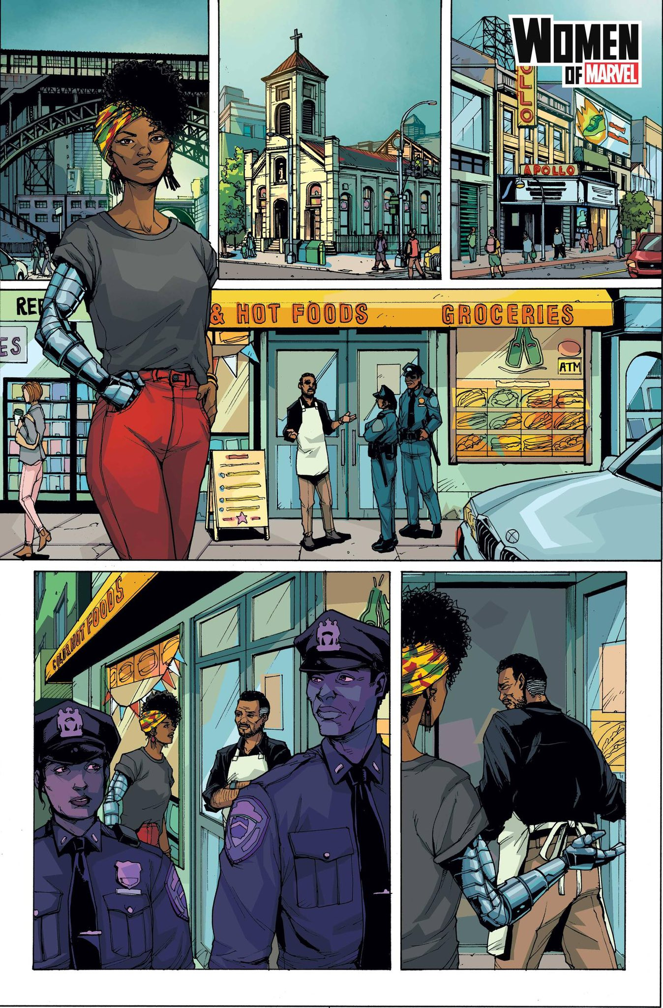Misty Knight walks along Harlem streets and notices police outside a deli.
