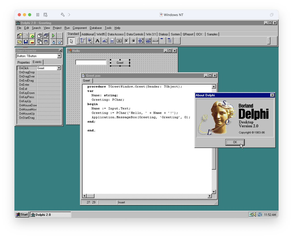 One of the first things I learned to program in when at college!! #Borland #Delphi #Pascal!