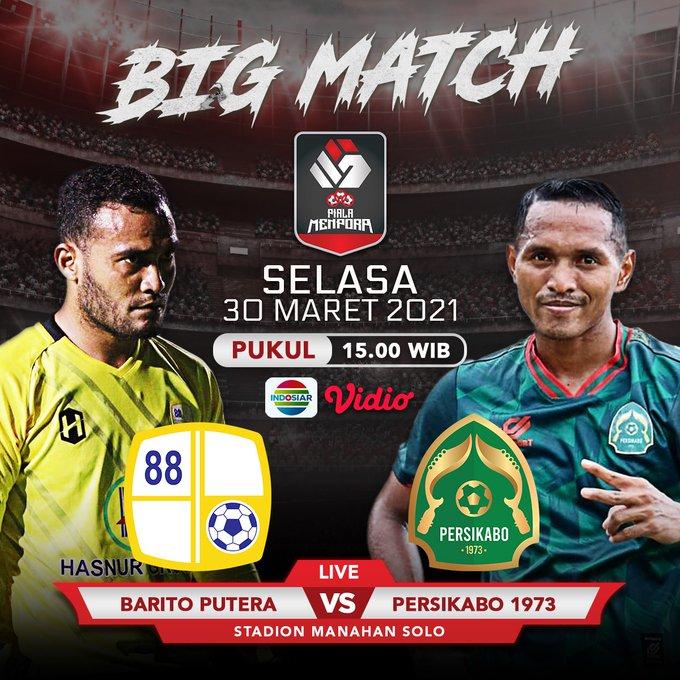 Barito Putera vs Persikabo 1973 kick off pukul 15.15 WIB, live Indosiar