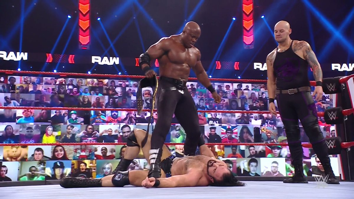 Corbin Helps Bobby Lashley Lay Out Drew McIntyre