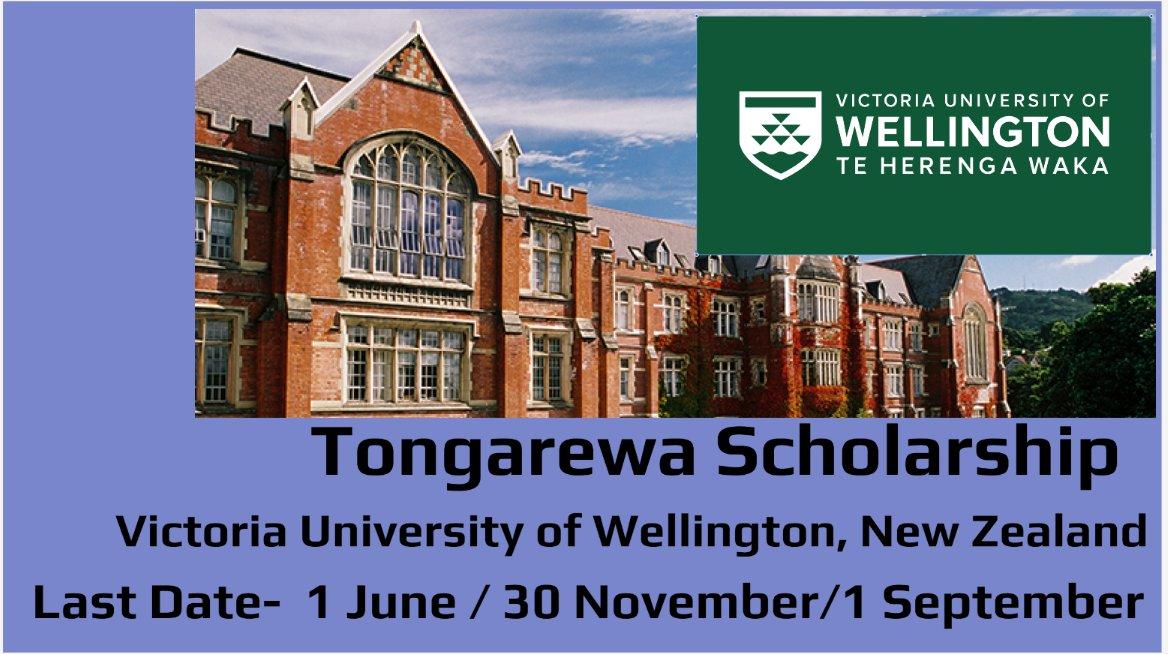 Tongarewa Scholarship by Victoria University of Wellington, New Zealand