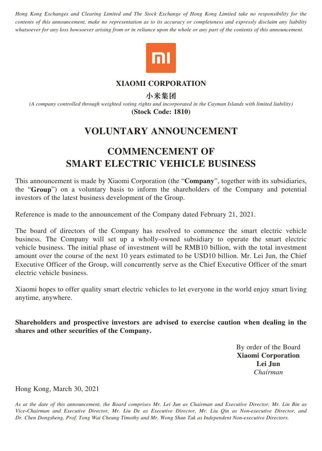 Xiaomi Ventures into electric car business
