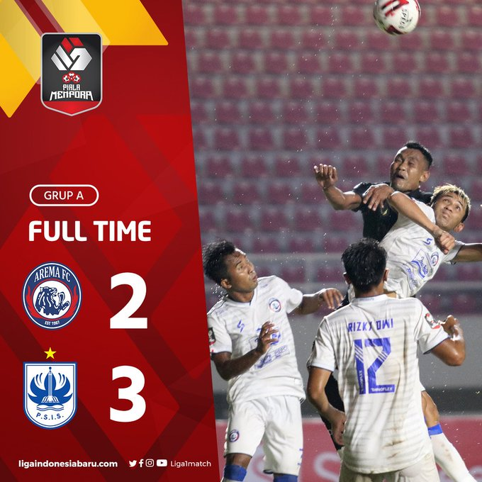 Skor akhir Arema FC 2-3 PSIS Semarang