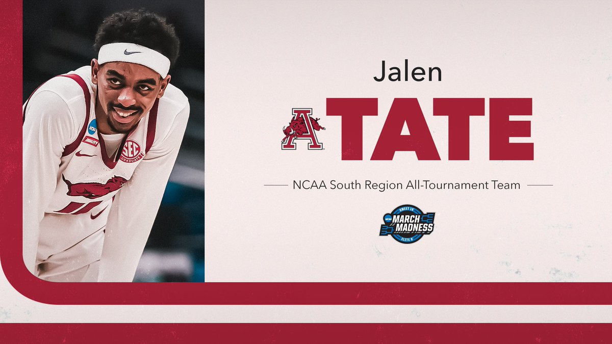Congrats to @jtate_the_great on being named to the @marchmadness All-South Region team, as voted by the media. In getting Arkansas to the Elite 8, Tate averaged 15.5 pts - 4.5 rebs - 3.5 assists and was 19-of-22 at the FT Line. https://t.co/tWzYf84IyG