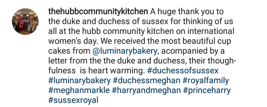 Hubb Community Kitchen sharing this post on IG....Meghan shared cupcakes and a note via @LuminaryBakery for #internationalwomensday2021