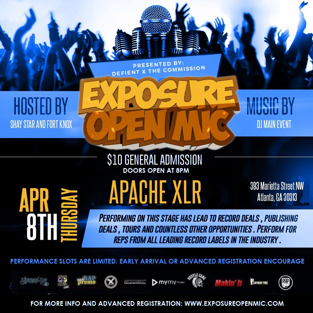If you know your a star and trying to get discovered !! Look no further than @exposureopenmic April 8that Apache Xlr 393 Marietta Street nw Atl Georgia.Music exec @brich404 will be in the building !! Contact weworkmusic@gmail.com for all info