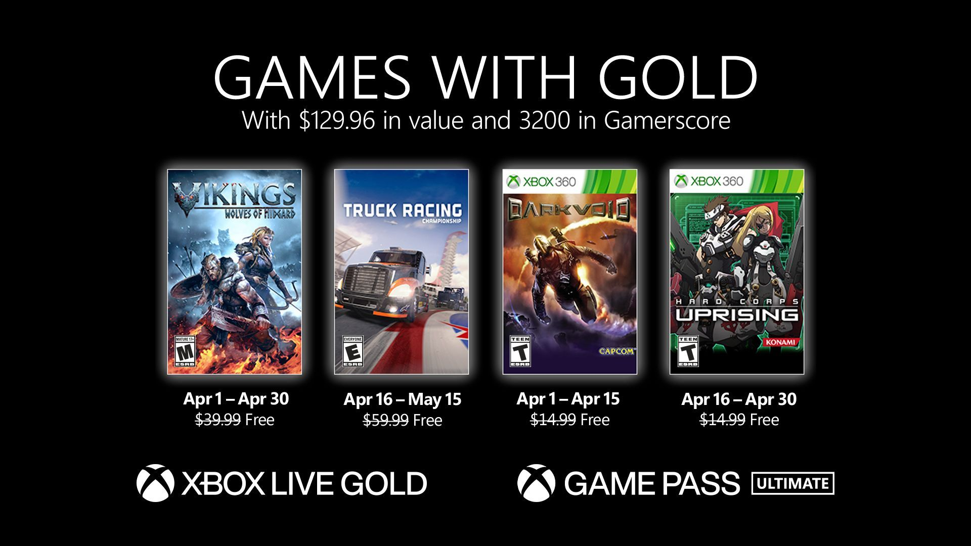 Xbox Live Games with Gold April 2021