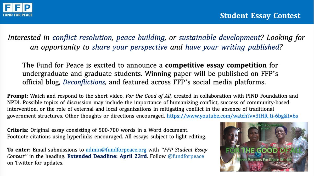 #Students: Final call to submit you essay response to @PINDFoundation & #NPDI's short film 'For the Good of All' for a chance to get #published! Competition closes this Friday (4/23) at midnight.