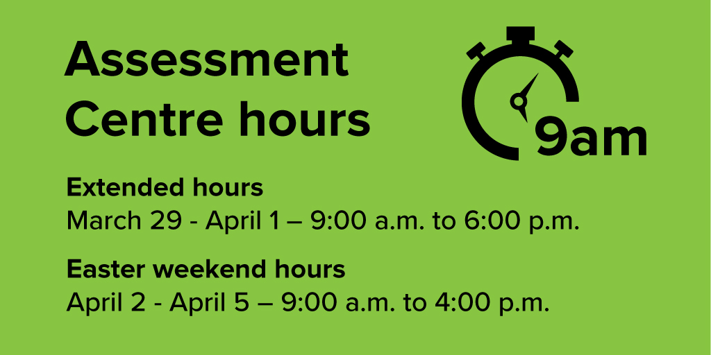 test Twitter Media - IMPORTANT INFORMATION - The #COVID19 Assessment  Centre in #ygk is running extended hours until April 1st - 9am to 6pm each day. Then regular hours over the holiday weekend, April 2 - 5 hours are 9am - 4pm. https://t.co/fQdB9u8wOt
