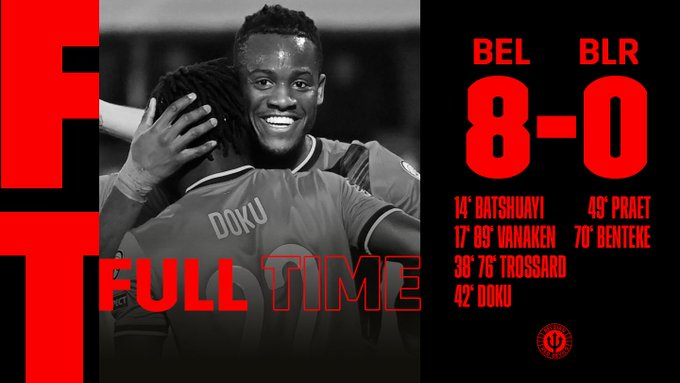 Hasil akhir Belgia 9-0 Belarusia