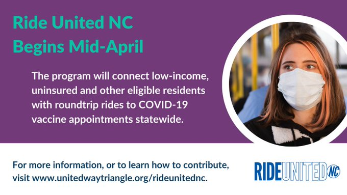 Graphic with text about Ride United NC. For more information visit unitedwaytriangle.org/rideunitednc