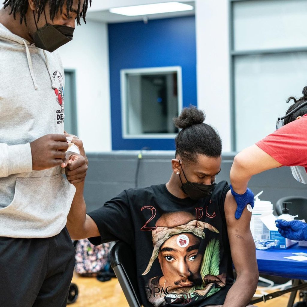 Shai Gilgeous-Alexander is scared of needles so Lu Dort held his hand while he received the vaccine. 😭  Real friend.   📸: @okcthunder https://t.co/W8jdWBr8dk