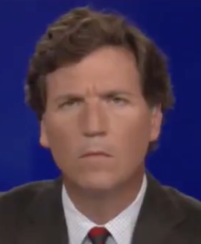 """I screenshotted Tucker's face at the exact moment after Gaetz says """"I'm not the only person on this screen who's been falsely accused of a terrible sex act"""""""