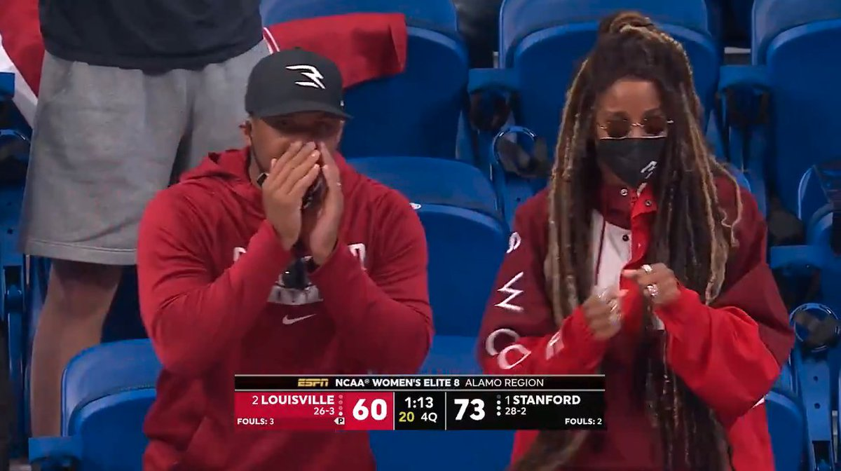 .@DangeRussWilson and @ciara loving it from Stanford 👏  @StanfordWBB #ncaaW https://t.co/IA2R5gWEf0