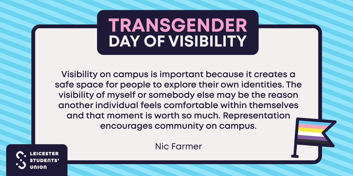 """Leicester Students' Union ??? ?????: """"?????? Happy Transgender Day of  Visibility ?????? Every year, this day is dedicated to raising awareness of  the discrimination faced by the transgender community but also celebrates"""