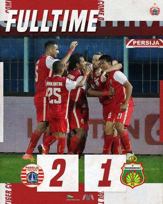 Hasil akhir Persija 2-1 Bhayangkara Solo FC