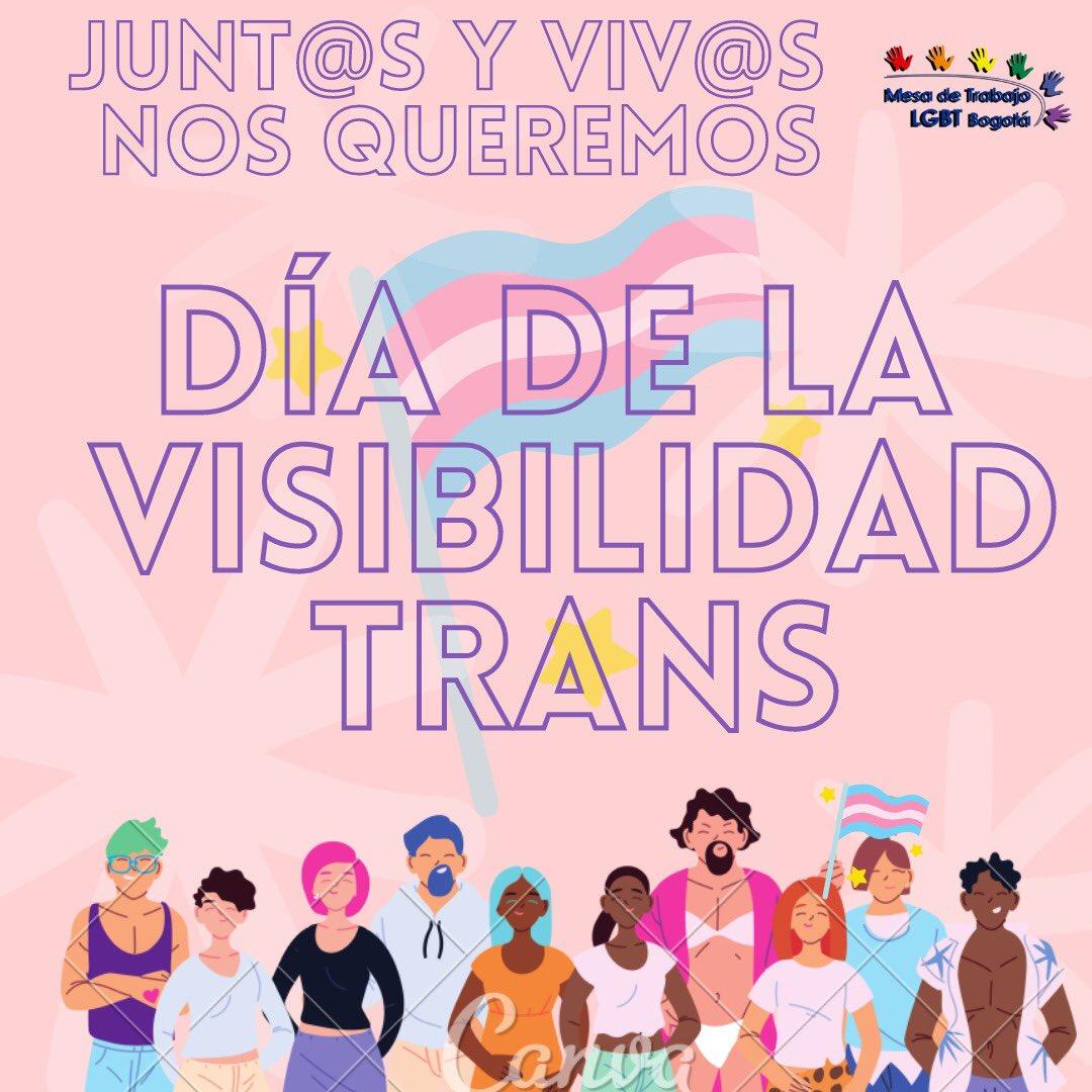 """🏳️🌈MESA LGBT BOGOTA🏳️🌈 on Twitter: """"Nos sumamos al #DiaDeLaVisibilidadTrans para conmemorar su historia de lucha reiterando el llamado al Estado para proteger la vida y la construcción identitaria de las personas Trans"""