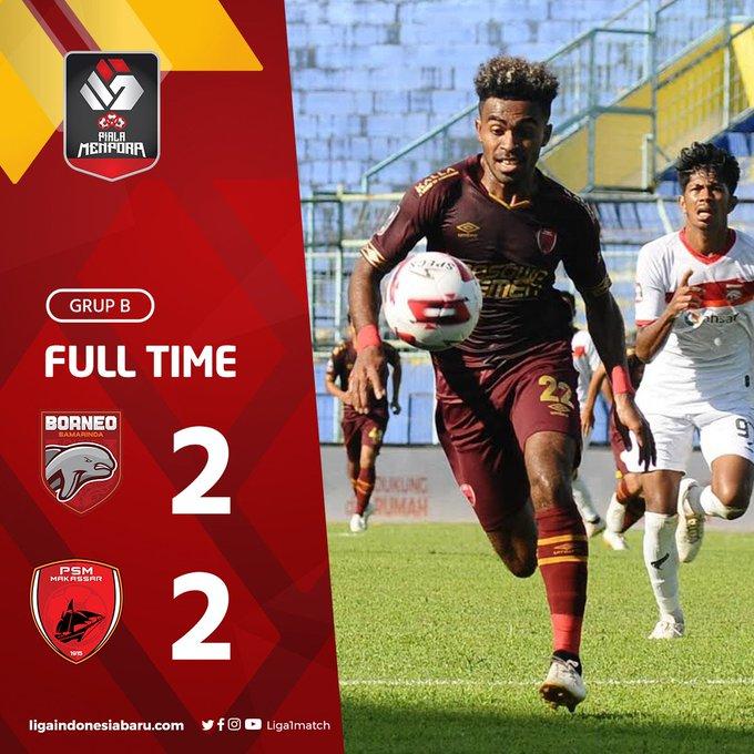 Skor akhir Borneo FC 2-2 PSM Makassar