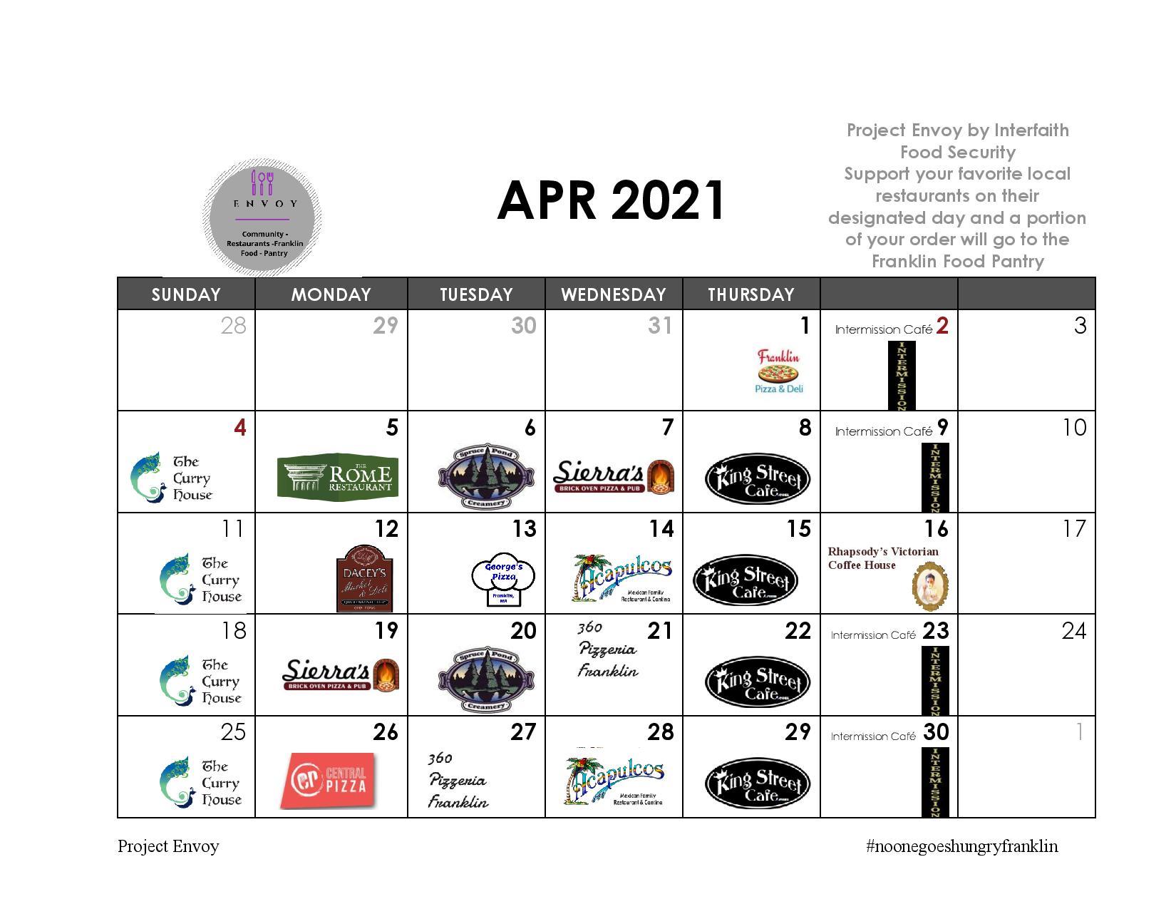 Franklin Food Pantry: #ProjectEnvoy calendar for April 2021