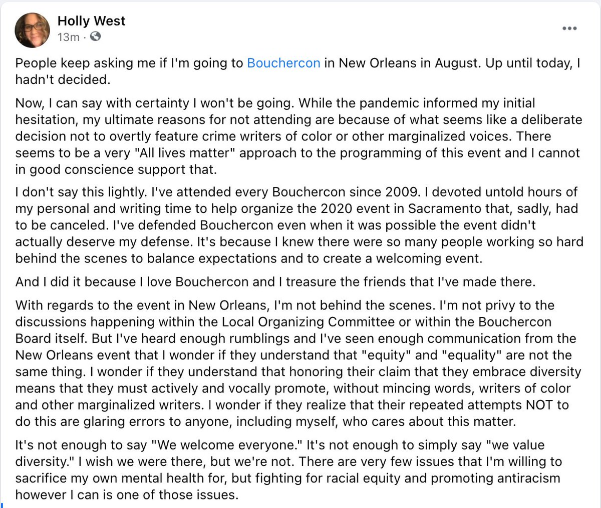 And thank you @HollyWest for speaking up. I am not walking away yet, but as we've discussed, I support your decision.