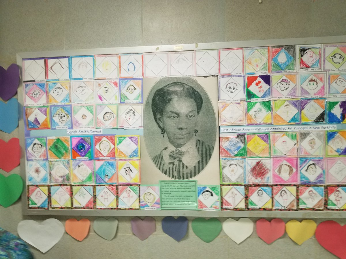 .@PS9BklynPTO made an awesome quilt in honor of #BlackSuffragist Sarah Smith Garnet. Thank you Prinicpal Ali and everyone for honoring NYC's 1st Black woman principal!  #BlackHistory365 #WomensHistoryMonth