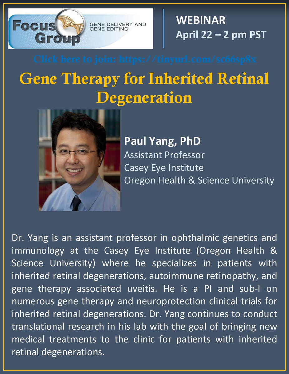 OHSU's Casey Eye Institute became the first to perform gene editing in the human eye last year. Looking forward to Dr. Yang from @CaseyEye on gene delivery and editing clinical trials.