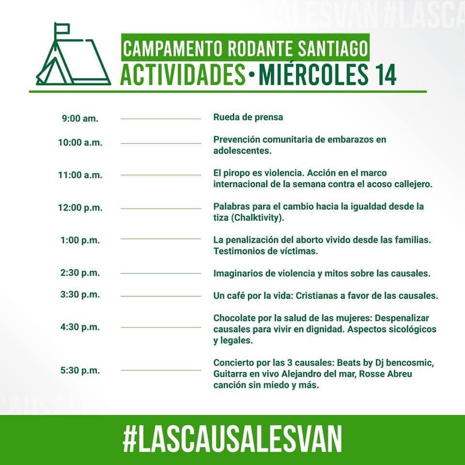 ¡Señoreeee! Este miércoles vamos al campamento rodante de Santiago en donde hablaremos sobre #acosocallejero y haremos #chalking por las 3 causales 🤩✊🏽💚 ¡Acompáñanos a decir #lascausalesvan ! https://t.co/OugePsu9F0