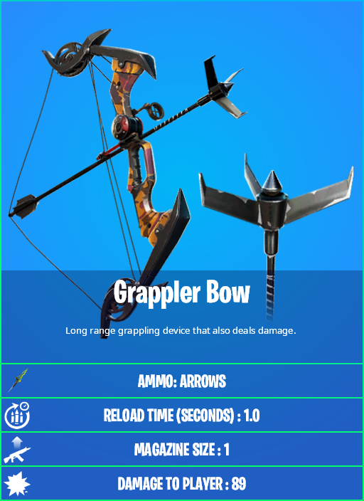 Where To Find The Grappler In Fortnite Chapter 2 Fortnite V16 20 New Grappler Bow And Splinter Bow Stats How To Get