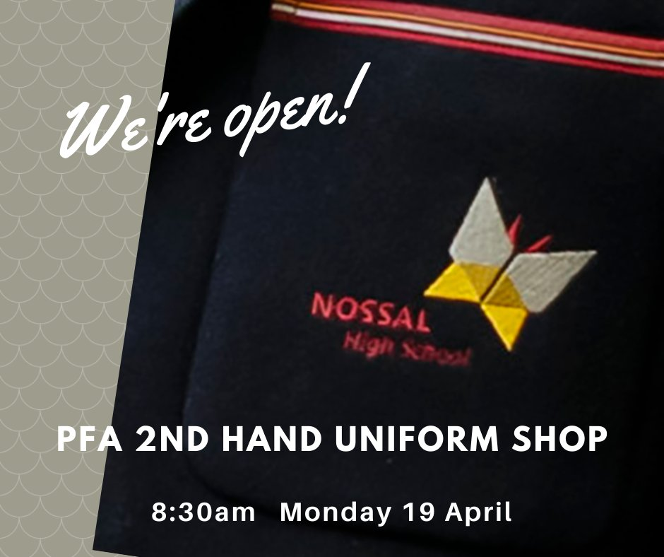 Don't forget our amazing PFA run our 2nd Hand Uniform Shop on the 1st day of term & 1st Monday of each month. You will find the shop in the Fitness Centre, at the rear of the Jean Russell Carpark. #NossalHighSchool #PFA #WinterUniform #NossalExceptional #EmbraceTheChallenge https://t.co/OYdBbCs8Qr