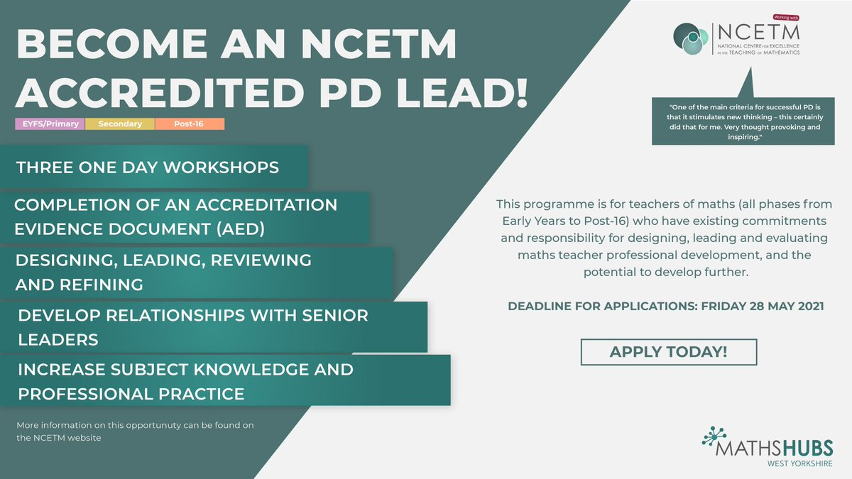 📢 Become an @NCETM Accredited PD Lead! 📢 NCETM Professional Development Lead Accreditation is designed for those who lead professional development for teachers of maths & suitable for all phases!  🧑💻 Find out more: https://t.co/AAvyau74xt ✅ Apply here: https://t.co/FgWtvTKvs3